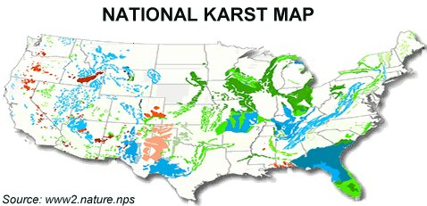 Image Gallery Karst Map - Map of karst topography in us